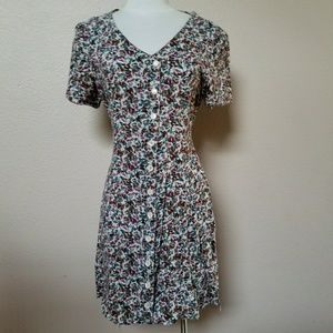 Vtg abstract floral button up raw hem mini dress